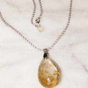 Phantom Quartz Teardrop Pendant SS 925 Necklace